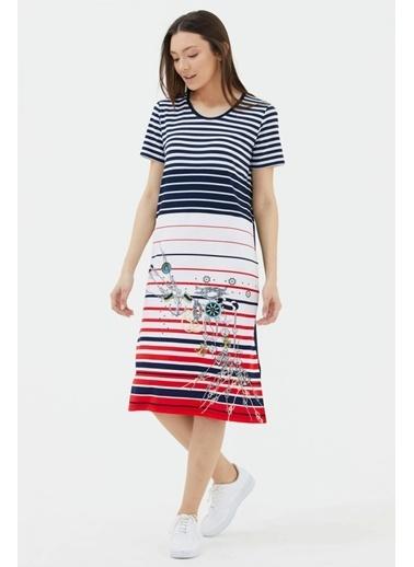 Sementa Kısa Kol Marine Desenli Elbise - Lacivert Lacivert